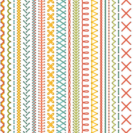 Illustration pour Seamless embroidery pattern. Vector high detailed colourful stitches on white background. Boundless background. - image libre de droit