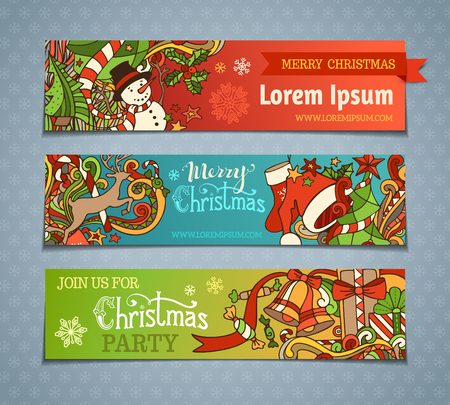 Illustration pour Vector set of cartoon Christmas banners. Colorful Christmas tree and baubles, Santa sock and hat, holly berries, gifts, candy canes, snowman, snowflakes, swirls, deer, sweets, bells and ribbons, stars and hand-written text. There is place for your text. - image libre de droit