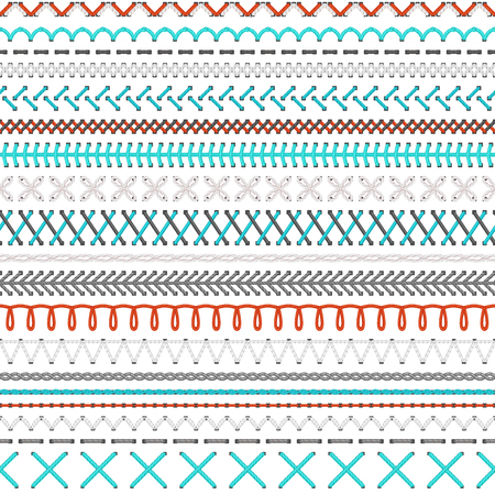 Illustration for Seamless embroidery pattern. Vector high detailed white, red and blue stitches on white background. Boundless texture. - Royalty Free Image