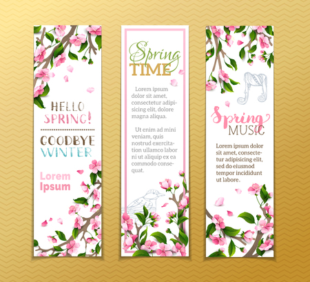 Ilustración de Vector set of vertical spring banners. Pink sakura flowers, leaves and bird contours on tree branches. Hello spring! Goodbye winter! Spring time. Spring music. There is place for your text. - Imagen libre de derechos