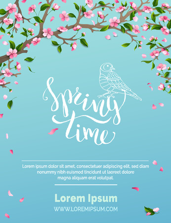 Illustration pour Spring time. Blossoms and leaves on tree branches. Falling petals. Bird contour. Hand-written brush lettering. There is place for your text in the sky. - image libre de droit