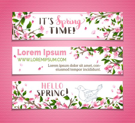 Ilustración de Vector set of horizontal spring banners. Pink sakura blossoms, leaves and bird contours on tree branches. Hello spring! It's spring time! There is place for your text on white background. - Imagen libre de derechos