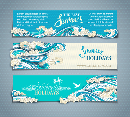 Illustration pour Vector set of sea/ocean horizontal banners. Paper ship, starfish, seagulls and waves. Summer holidays. The best summer. Hand-drawn illustration. There is place for your text on coloured background. - image libre de droit