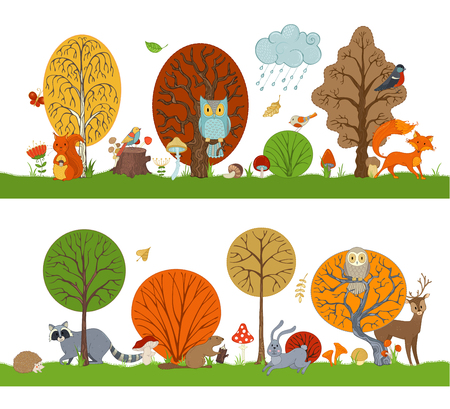 Illustration pour Vector forest set with autumn trees, cute animals and birds. Hare, fox, beaver, squirrel, deer, raccoon, owl, hedgehog, mushrooms and flowers made in cartoon style. Autumn weather. Falling leaves. - image libre de droit