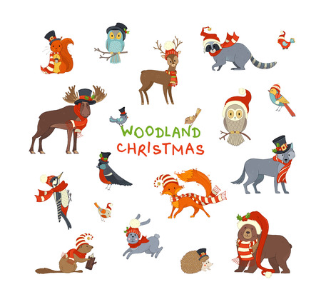 Illustration pour Vector set of forest animals dressed in Santa hat and scarf. Cute animals on white background. Moose, bear, fox, wolf, deer, owl, hare, squirrel, raccoon, hedgehog and birds. - image libre de droit