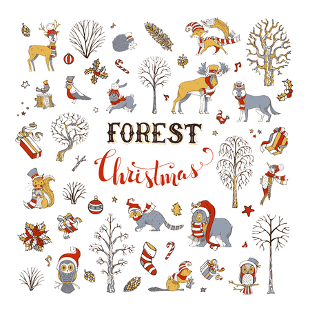 Illustration pour Winter trees and forest animals in Santa hat and scarf. Moose, bear, fox, wolf, deer, owl, hare, squirrel, raccoon, hedgehog, birds, gift boxes and Christmas baubles. - image libre de droit