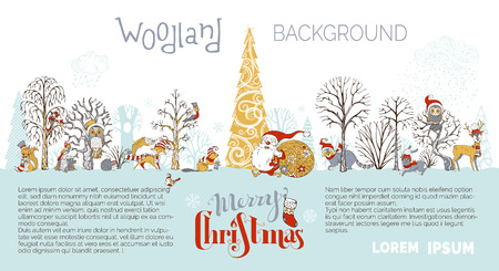Illustration pour Cute forest animals in hats and scarfs. Santa Claus with big sack full of gifts. Cute fox, hare, deer, squirrel, raccoon and hedgehog. Red, gold and gray. - image libre de droit