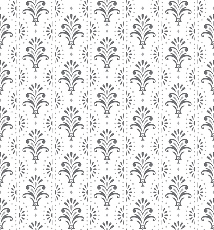 Illustration for Silver seamless traditional floral wallpaper - Royalty Free Image