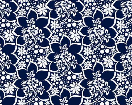 Illustration pour Seamless rich damask dark blue vector wallpaper - image libre de droit