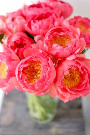 Foto de Lovely flowers in glass vase. Beautiful bouquet of peonies sort of coral charm. Floral composition, scene, daylight. Wallpaper - Imagen libre de derechos
