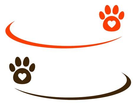 Illustration pour decorative line with paw on white background - image libre de droit