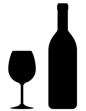 Ilustración de black wine bottle and glass silhouette on white background - Imagen libre de derechos
