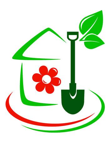 Illustration pour green garden icon with house, flower, shovel and decorative line - image libre de droit
