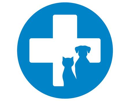 Illustration pour blue round veterinary icon with pets and cross - image libre de droit