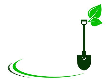 Illustration pour garden background with shovel, green leaf and decorative element - image libre de droit