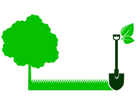 Illustration for green garden background with tree icon, grass and shovel with leaf - Royalty Free Image