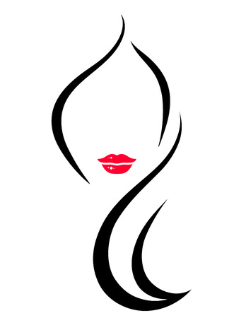 Illustration pour hair salon icon with art woman face silhouette - image libre de droit