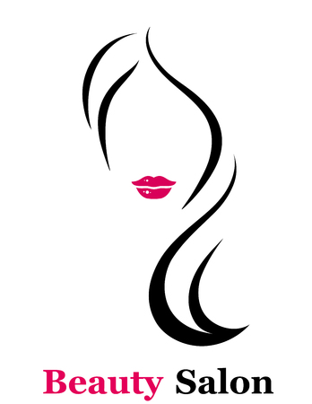 Illustration pour style beauty salon icon with isolated woman silhouette with red lips - image libre de droit