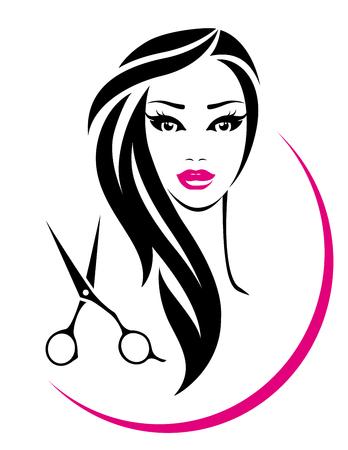 Illustration pour hair salon sign with pretty woman face and scissors silhouette - image libre de droit