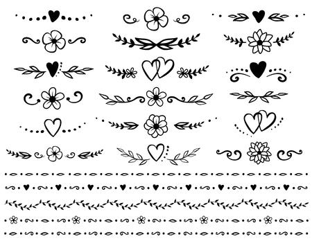 Illustration pour set of floral design elements - image libre de droit