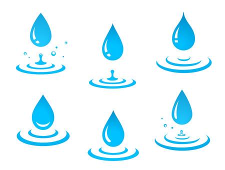 Illustration pour blue water drops set and splash - image libre de droit