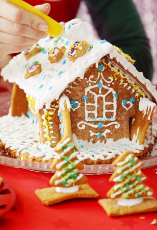festive gingerbread house decorated with frosting, close-up