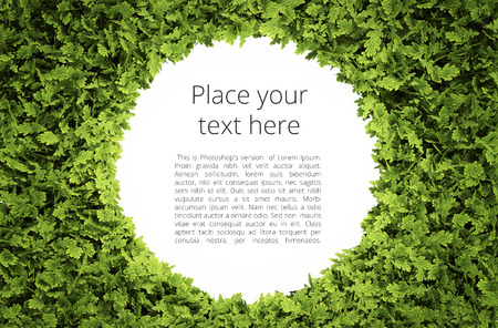 Photo pour Eco circular text frame with simple text pattern - clipping path of green leaf shape included - image libre de droit
