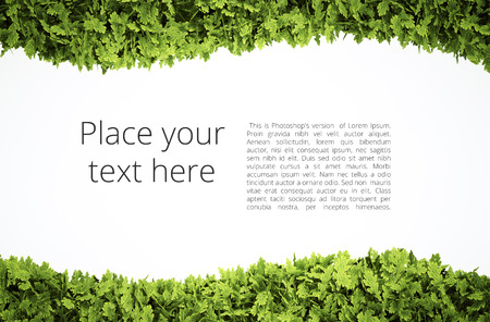 Photo pour Eco text frame with simple text pattern - clipping path of green leaf shape included - image libre de droit