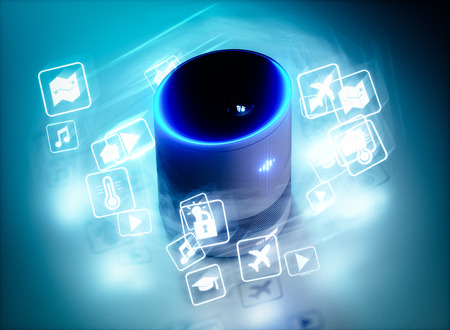 Photo for Concept of home intelligent voice activated assistant with voice command icons. 3D rendering concept of hi tech futuristic artificial intelligence speech recognition technology. - Royalty Free Image