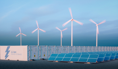 Foto de Battery energy storage concept in nice morning light. Hydrogen energy storage with renewable energy sources - photovoltaic and wind turbine power plant farm. 3d rendering. - Imagen libre de derechos