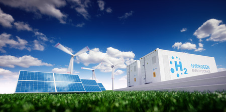 Foto de Ecology energy solution. Power to gas concept. Hydrogen energy storage with renewable energy sources - photovoltaic and wind turbine power plant in a fresh nature. 3d rendering. - Imagen libre de derechos