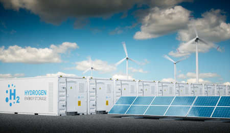 Photo for Power to gas concept with fresh sunny sky. Hydrogen energy storage with renewable energy sources - photovoltaic and wind turbine power plant farm. 3d rendering. - Royalty Free Image