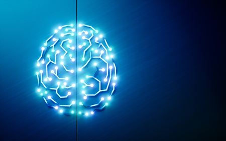 Photo pour Printed circuits brain. Concept of artificial intelligence, deep learning, machine learning, smart autonomous robotic technology on blue background. Suitable for text messsage. 3d rendering - image libre de droit