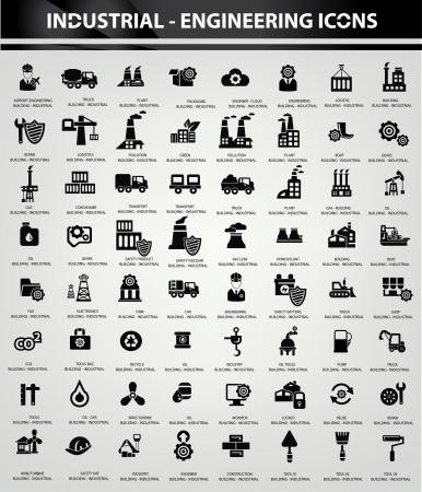 Illustration pour Industrial and Building icons, Black version - image libre de droit