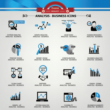 Illustration for Business Analysis concept icons,Blue version - Royalty Free Image