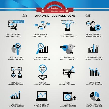 Ilustración de Business Analysis concept icons,Blue version - Imagen libre de derechos