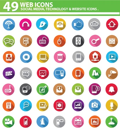 Ilustración de Colorful Web icons,on white background,vector - Imagen libre de derechos