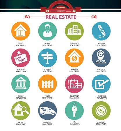 Illustration for Real estate icons,Colorful version,vector - Royalty Free Image