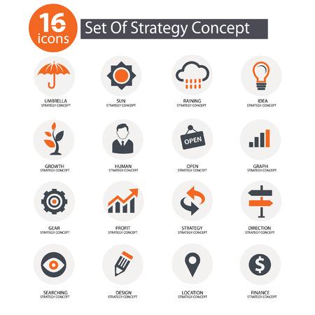 Illustration pour Strategy Concept icons,Orange version - image libre de droit