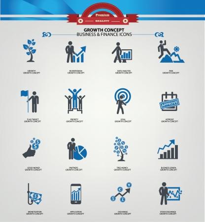 Illustration pour Growth concept icons,Blue version - image libre de droit