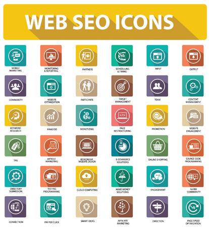 Illustration pour Flat Website seo icons,colorful version - image libre de droit