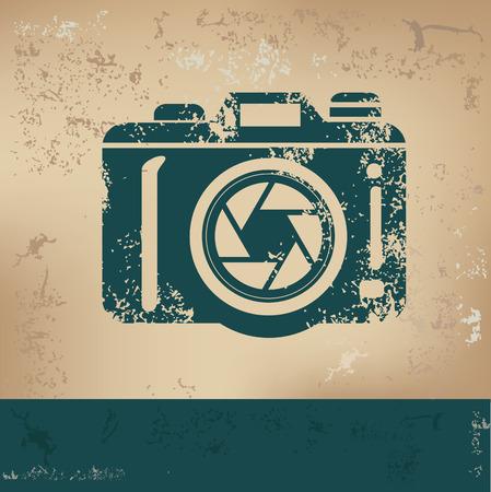 Illustration pour Camera design on old paper, grunge vector - image libre de droit
