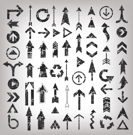 Illustration pour Grunge arrows illustration of black arrow icons,clean vector - image libre de droit