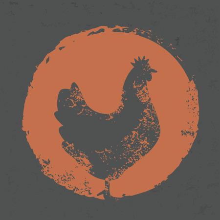 Ilustración de Chicken design on grunge background - Imagen libre de derechos