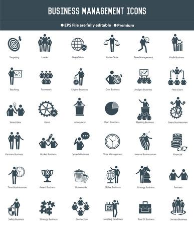Ilustración de Business management,Human resource icons,black version,clean vector - Imagen libre de derechos