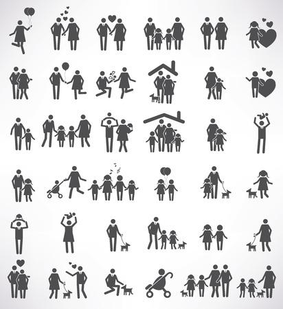 Illustration pour Family icon set,black version,clean vector - image libre de droit