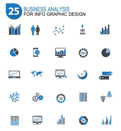Ilustración de 25 Data analysis design icon set,blue version,clean vector - Imagen libre de derechos