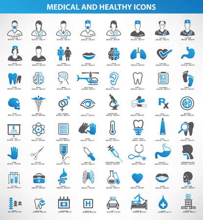 Illustration pour Medical,Healthy icon set,blue version,clean vector - image libre de droit