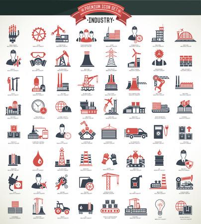 Ilustración de Industryconstruction and engineer icon setred versionclean vector - Imagen libre de derechos