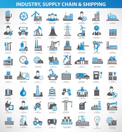 Illustration pour Industryconstruction and engineer icon setblue versionclean vector - image libre de droit